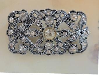 Vintage Rhinestone Paste Brooch Victorian Brooch