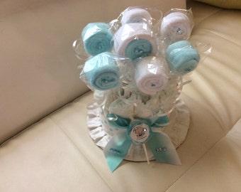 Lollipop Diaper Cake/Baby Shower Gift/Baby Shower Centerpiece/Infant Washcloth Lollipops
