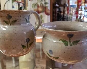 """Handmade Folk Art Signed Studio Flower Stoneware Pottery Open Sugar & Creamer """"Burnett"""""""