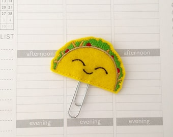 Taco planner clip ~ planner accessories ~ taco bookmark ~ Taco Tuesday ~ felt taco paperclip ~ taco feltie