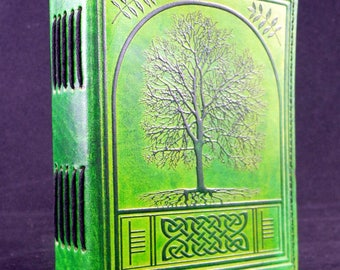 Druid Celtic Tree of Life - Handmade Leather Journal Diary with Hand-Tooled ASH TREE
