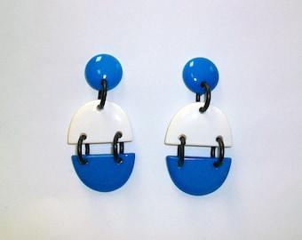 Vintage 80s Abstract Mod Plastic Earrings DEADSTOCK