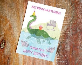sea monster - 5 x 7 birthday card