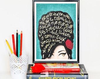 Rehab Amy Winehouse Music Poster, Typography Lyrics, Home Decor Gift, Music Illustration, Pop Art Wall Art, Creative Gift for Her, Art Print