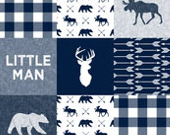 Little Man Moose/Bear/Buck Patchwork Print Bumper Pads (navy or black)