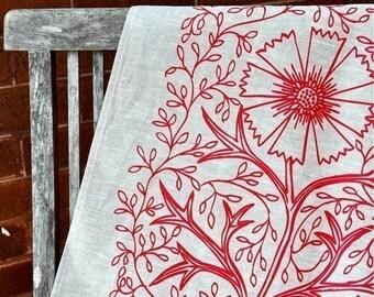 SALE Unbleached Linen Tea Towel - Tomato Filigree