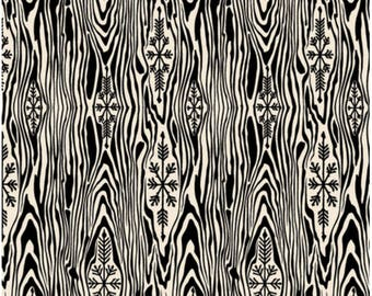 Tula Pink Yule Log in Color Ink - Black Faux Bois Wood Grain Free Spirit Fabric Christmas Holiday Homies