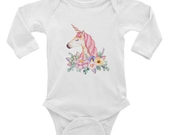 Unicorn Infant Long Sleeve Bodysuit - Toddler Unicorn Shirt - Baby Shower Gift - Newborn Gift - Unicorn Party Outfit