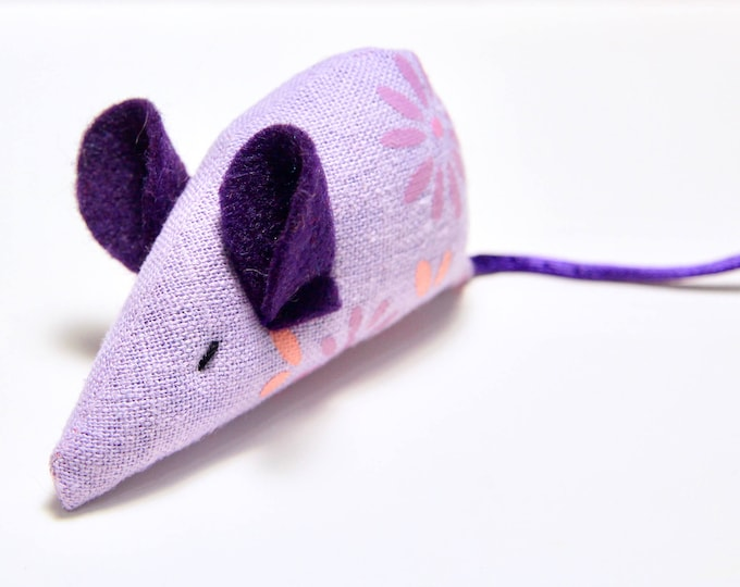 Featured listing image: Lavender Linen Cat Toy: Dark Purple Ears, Purple Tail, Organic Catnip, Mouse Toy