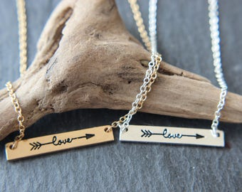 Love love friendship necklace in gold or silver necklace with arrow