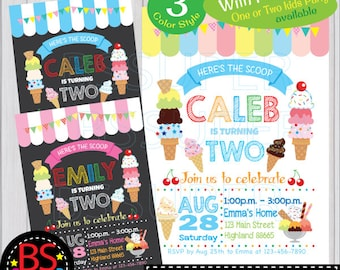 Ice Cream Invitation, Ice Cream Party Invitation, Ice Cream Birthday Invitation, Summer Party Invitation