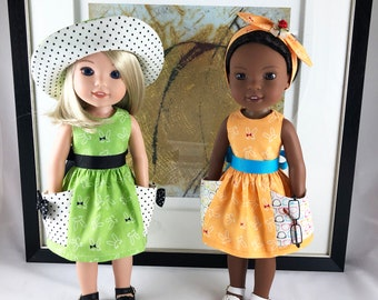 Wellie Wishers® like Dress with matching hat or bow for 14 inch Dolls