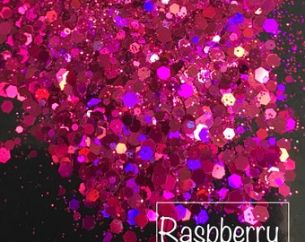 Raspberry Pink Holographic Chunky Glitter Mix for Face - Body - Hair - Nails - Festivals