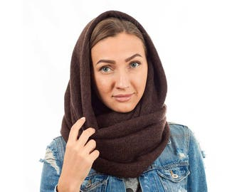 Winter hooded scarf brown hooded scarf wool neck  wrap christmas gift women shawl scarf wool hooded scarf  girls snood scarf oversized scarf