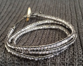 Gray/Blue Wrap Bracelet