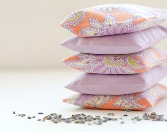 Lavender sachet, Mothers day gift, Gift for teacher, orange paisley and lavender, Drawer sachet, Favor, Lavender bag, Gift sachet