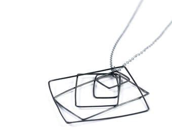 Oxidized Silver Concentric Squares Necklace