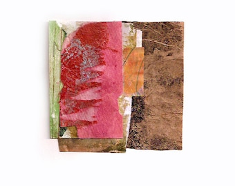 The Clearing - Original Collage with Weathered and Hand Painted Papers 4 x 4 on 8 x 10 Backing