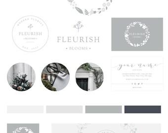 Florist Logo Design, Floral Logo, Wreath Logo, Branding Package, Branding Kit, Photography Logo, Premade Logo, Business Card, Botanical Logo
