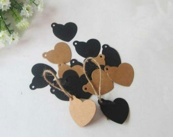 50x Heart Kraft Paper Favour Tags • Christmas Gift Wrapping Tags • Wedding Birthday Anniversary Party Baby Shower Favour Tags