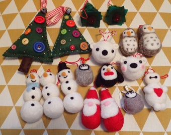 Needle Felted Christmas Tree Ornaments Decorations Cute