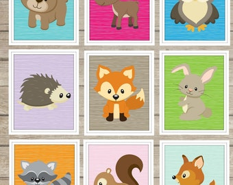 Custom Woodland Animals Wall Art Digital Images ~Boys Girls Room Decor~ Nursery Decor ~ Choose Your Woodland Animals ~ Forest Animals ~ Fox