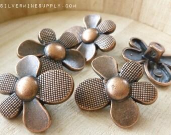Copper Flower Buttons - Flower Buttons - Metal Buttons - Metal Flower Buttons - Copper Buttons - Wrap Bracelet Clasp - Button Clasp - Daisy