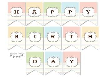 Happy Birthday Banner - Ice Cream Party Coordinate