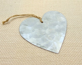 Galvanized Tin Heart Ornament or Tag with Burlap Cord 3 1/2 Inches, Metal Heart Shape for Crafting