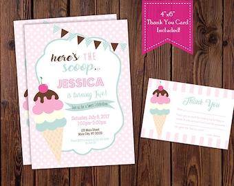 Ice Cream Birthday Party Invitation, Ice Cream Social Invitation-Digital