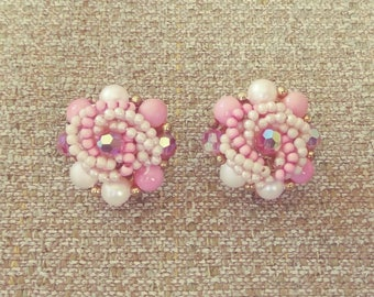 Clip-on Haskell-style Pink Plastic + Aurora Borealis Glass Beaded Cluster Earrings