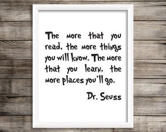 Dr. Seuss Art Print.  The More that you Read Art print.  8X10 Art Print ~ Digital Download