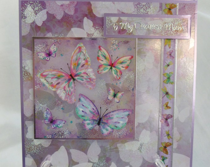 Butterfly Birthday Card, Greeting Card, Dearest Mum Birthday Card, Floral and butterflies,Pink and Lilac, Any Age, Mum, Mother,