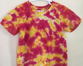 6T Tie Dye T-Shirt in Red and Yellow