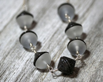 Einstein Stone Necklace, Gray Black Cobblestone Matte Quartz Gemstone Simple Statement Necklace - Theory of Relativity