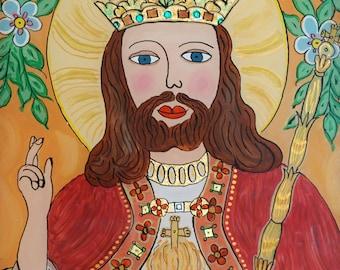 Christ the King / folk art / glass painting / polish folk painting / Christ