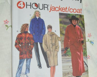 Simplicity 9221 Misses Coat or Jacket and Scarf Sewing Patern - UNCUT - Size XS S M