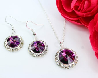 Sangria Bridesmaid Jewelry Purple Bridesmaid Jewelry Amethyst Earrings Bridal Earrings Bridal Jewelry Flower Girl Jewelry Bridesmaid Jewelry