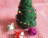 Christmas Evergreen tree decoration toy xmas lights handmade waldorf wool gift presents miniature november elves winter ornament needle felt