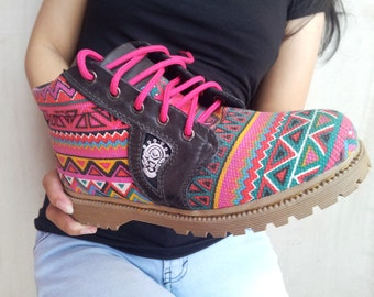 Ethno canvas shoes Ikat pink handmade Rangkayo casual sneakers Preorder colorful women boots autumn