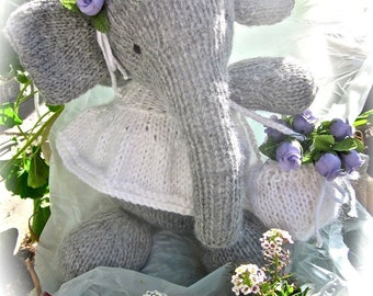 Knit Animal, Stuffed Elephant Doll,  Hand Knit, Birthday Gift, Room Decor/ Isabella- And Now They are Three
