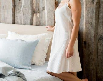 Linen night gown, Linen night dress, Linen slip dress, Linen bed gown, Flax nightie, White flax nightdress, Handmade flax nightdress