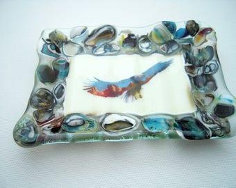 Fused Glass Soap Dish, Eagle dish, flying eagle, Bathroom decor, reactive glass,
