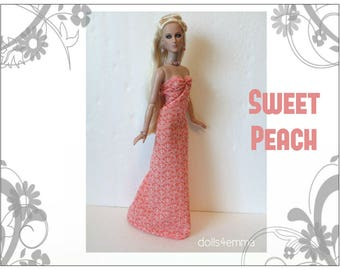 "Tyler Doll Clothes - SWEET PEACH Gown and Jewelry Set - Custom Fashion fits 16"" Tonner dolls - by dolls4emma"