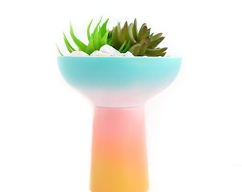 Gradient Succulent or Cactus Planter in Blue to Pink to Yellow Ombre Pattern