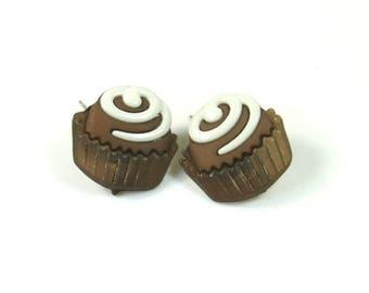 Chocolate Earrings, Cupcake earrings, Muffin earrings, Vanilla earrings, Chocolate studs