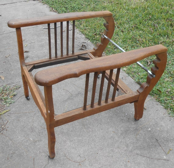 Antique Recliner Morris Chair Arts And Crafts Oak Spindle Adjustable Lounge  Arm Chair