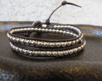 Silver Beaded Double Leather Wrap Bracelet