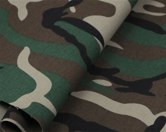 Green Army Camo Camouflage Fabric - Curtain Upholstery Uniform Material - 280cm extra wide
