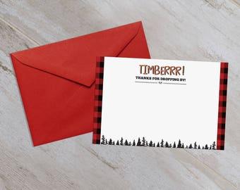 Lumberjack First Birthday Thank You Cards - Lumberjack Birthday Thank you - Lumber Jack Birthday - Thank You - Little Lumberjack